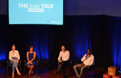 Blue Talk presenters engage with the audience.